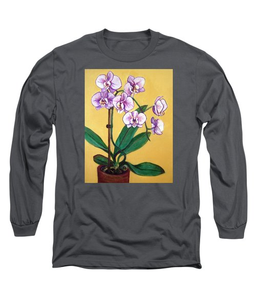 Long Sleeve T-Shirt featuring the painting Orchids by Laura Aceto