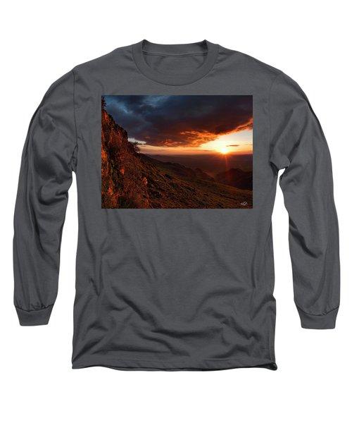 Oregon Mountains Sunrise Long Sleeve T-Shirt by Leland D Howard