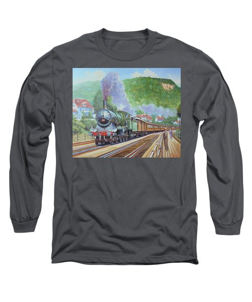 Long Sleeve T-Shirt featuring the painting Orient Express 1920 by Mike Jeffries