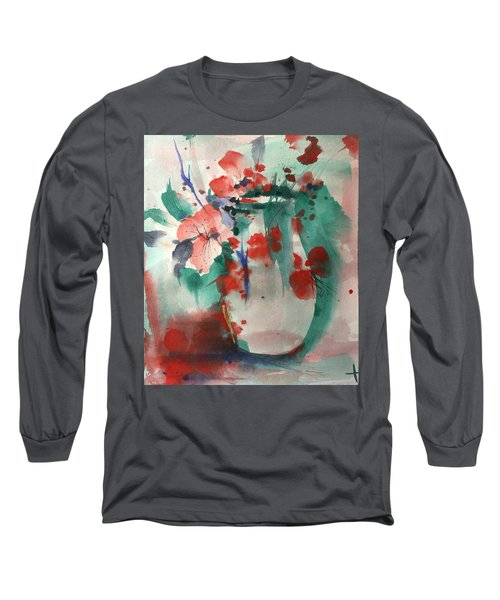 Oriental Brush Flowers And Vase Long Sleeve T-Shirt by Robin Miller-Bookhout