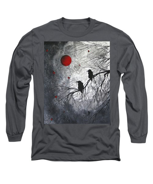 Original Abstract Surreal Raven Red Blood Moon Painting The Overseers By Madart Long Sleeve T-Shirt