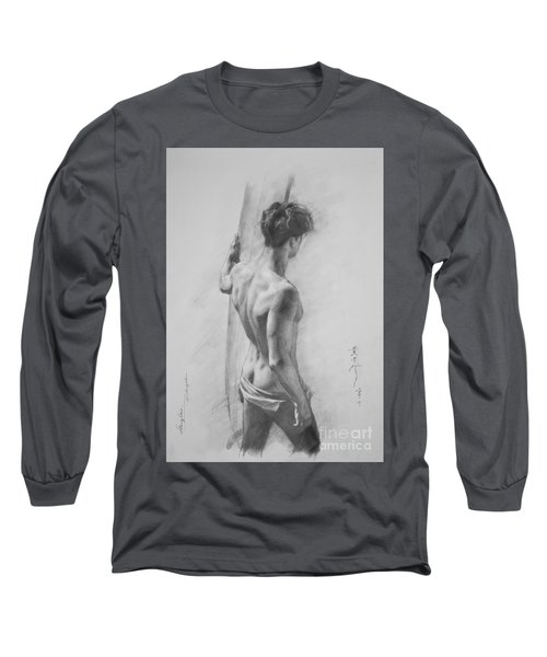 Original Charcoal Drawing Art Male Nude  On Paper #16-3-11-12 Long Sleeve T-Shirt by Hongtao Huang