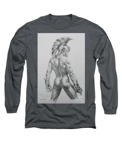 Original Drawing Sketch Charcoal Chalk Male Nude Gay Interst Man Art Pencil On Paper -0040 Long Sleeve T-Shirt