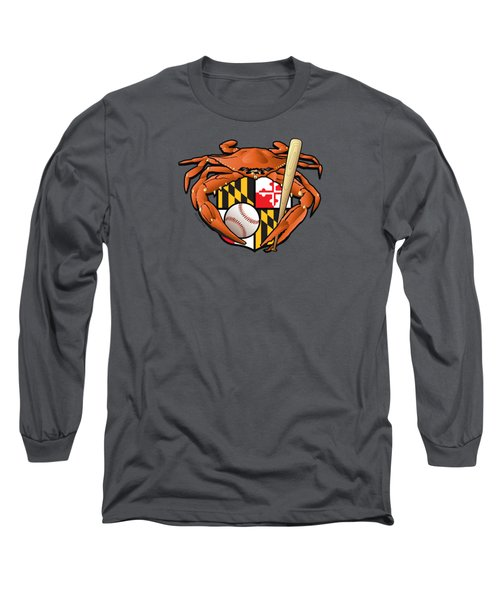 Oriole Baseball Crab Maryland Crest Long Sleeve T-Shirt