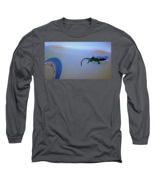 Long Sleeve T-Shirt featuring the photograph Oscar The Lizard by Denise Fulmer