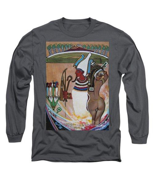Blaa Kattproduksjoner         Osiris With Goddess Isis And 4 Grandkids Long Sleeve T-Shirt