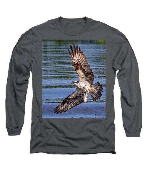 Long Sleeve T-Shirt featuring the photograph Osprey Catch by Alan Raasch