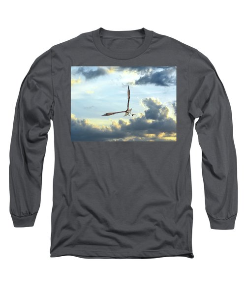 Osprey Flying In Clouds At Sunset With Fish In Talons Long Sleeve T-Shirt