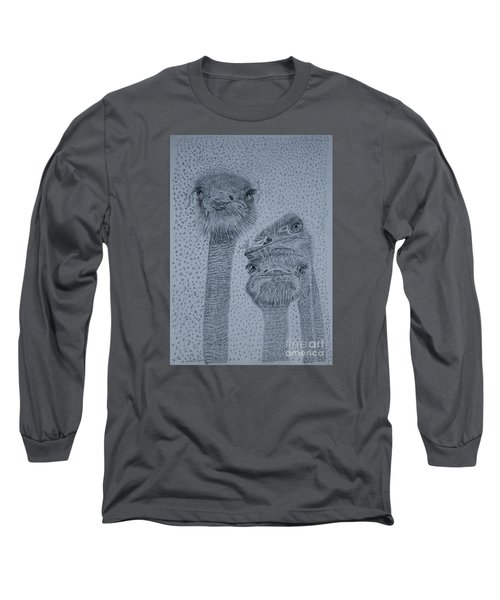 Ostrich Umbrella Long Sleeve T-Shirt by David Joyner