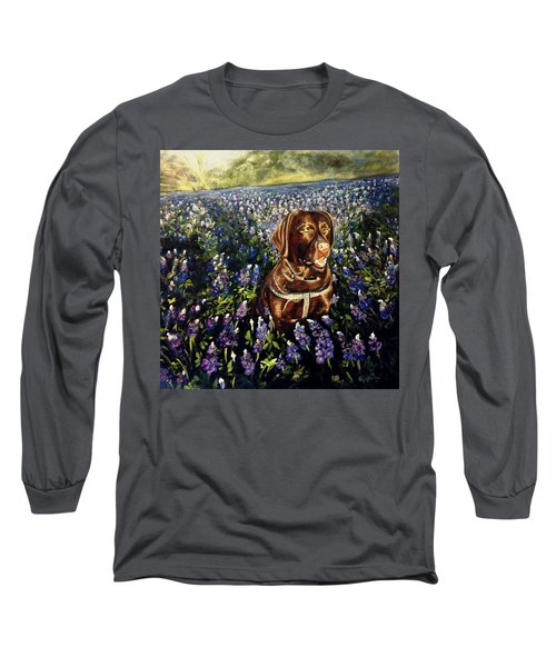 Otis In The Bluebonnets Long Sleeve T-Shirt