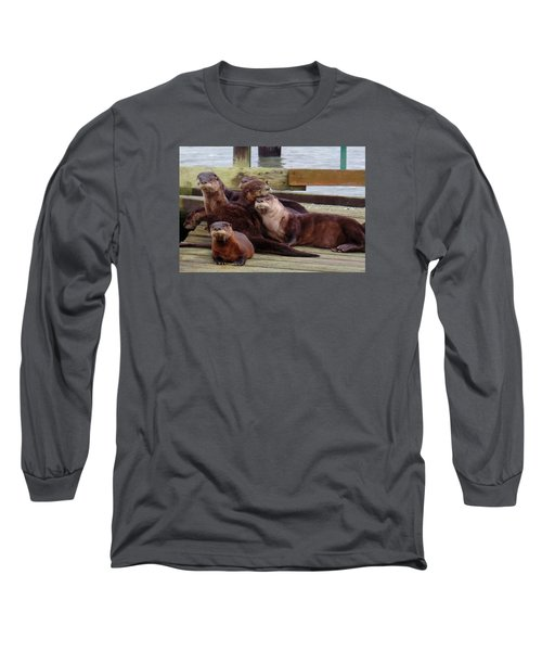Otter Party In Bellingham Long Sleeve T-Shirt by Karen Molenaar Terrell