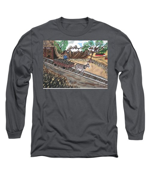 Long Sleeve T-Shirt featuring the painting Out Of The Dark And Into The Blue Coal Mine by Jeffrey Koss