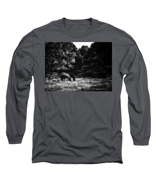 Out To Pasture Bw Long Sleeve T-Shirt by Mark Fuller