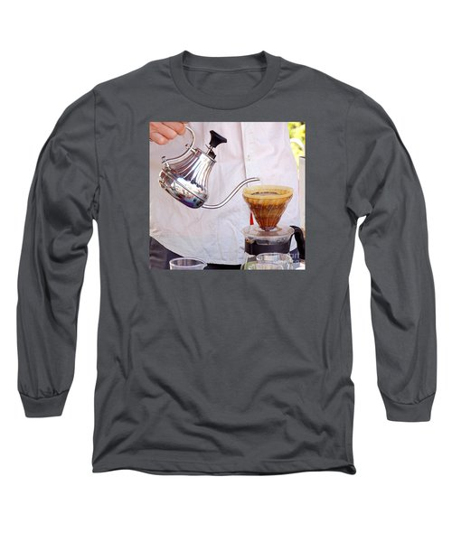 Outdoor Vendor Makes Coffee Long Sleeve T-Shirt by Yali Shi