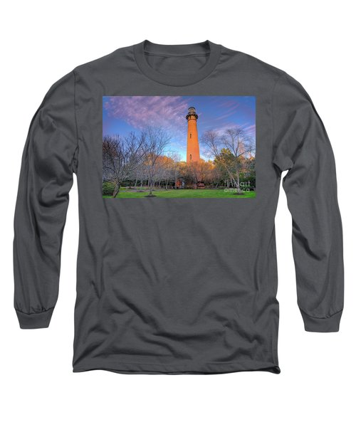 Long Sleeve T-Shirt featuring the photograph Outer Banks Winter At The Currituck Lighthouse by Dan Carmichael
