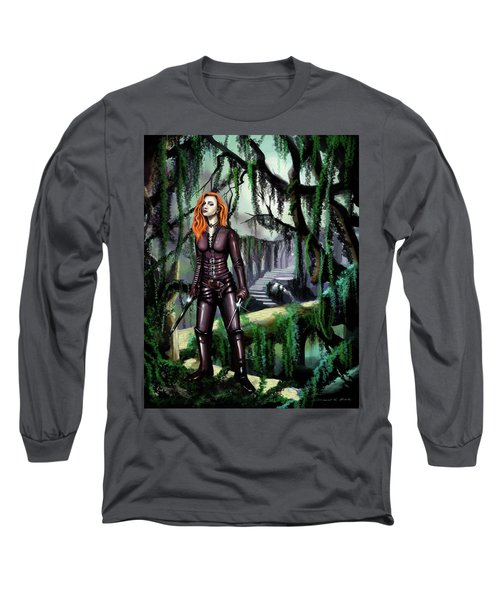 Long Sleeve T-Shirt featuring the painting Over The Bridge by James Christopher Hill