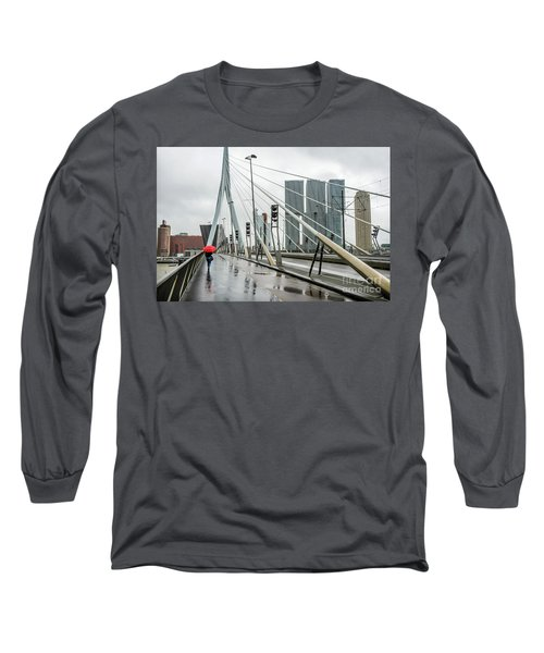 Long Sleeve T-Shirt featuring the photograph Over The Erasmus Bridge In Rotterdam With Red Umbrella by RicardMN Photography