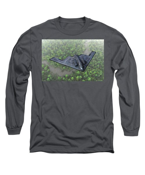 Long Sleeve T-Shirt featuring the painting Over The River And Through The Woods In A Stealth Bomber by Dave Luebbert