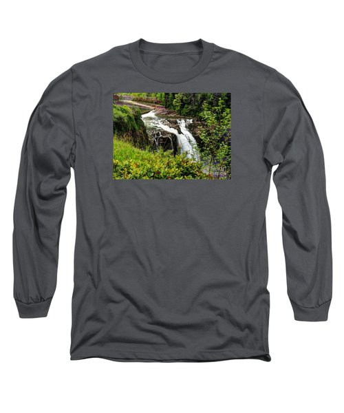 Overlooking Snoqualmie Falls Long Sleeve T-Shirt by Chris Anderson