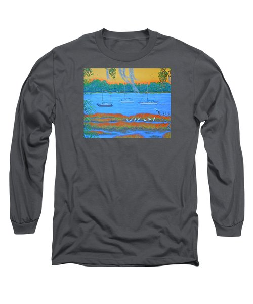 Long Sleeve T-Shirt featuring the painting Overnight In Beaufort by Dwain Ray