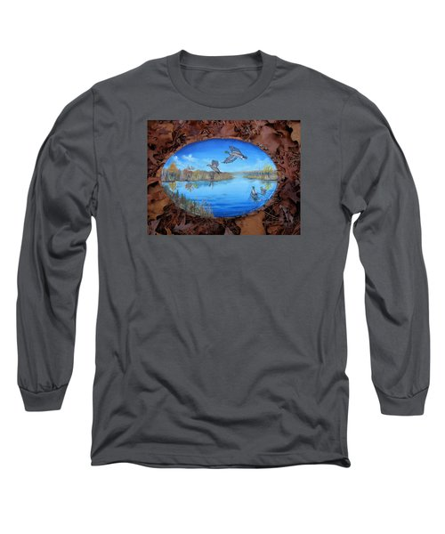 Oyster Creek Flock Long Sleeve T-Shirt by Kevin F Heuman