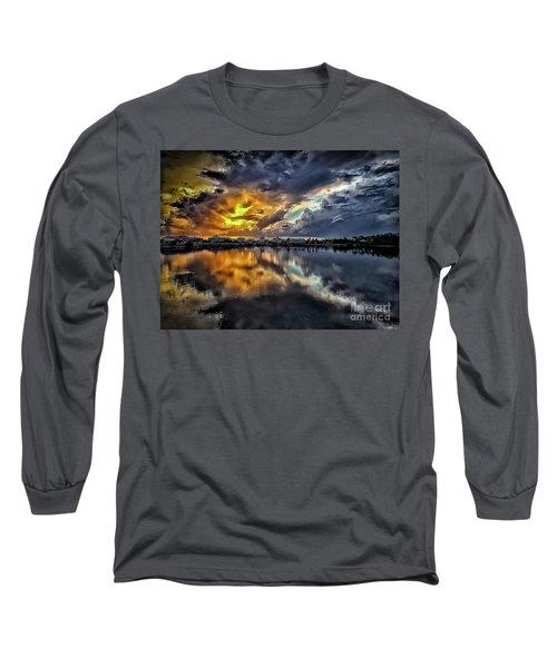 Oyster Lake Sunset Long Sleeve T-Shirt by Walt Foegelle