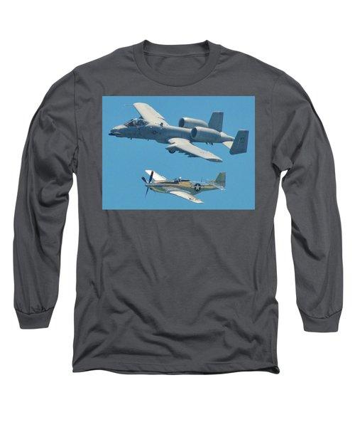 P 51d Mustang And A10 Warthog Tank Killer Long Sleeve T-Shirt
