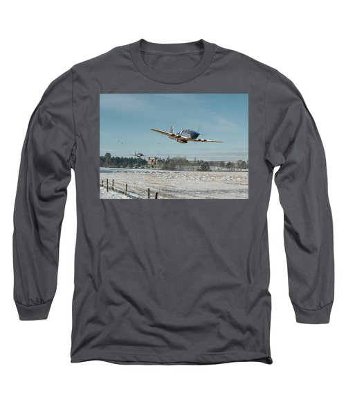 Long Sleeve T-Shirt featuring the digital art P51 Mustang - Bodney Blue Noses by Pat Speirs