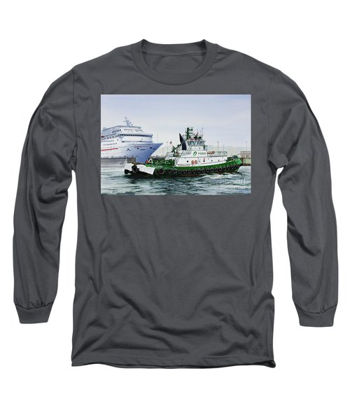 Long Sleeve T-Shirt featuring the painting Pacific Escort Cruise Ship Assist by James Williamson
