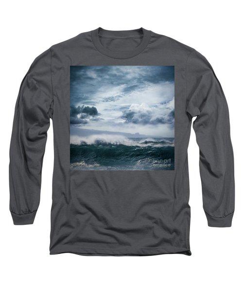 Long Sleeve T-Shirt featuring the photograph He Inoa Wehi No Hookipa  Pacific Ocean Stormy Sea by Sharon Mau
