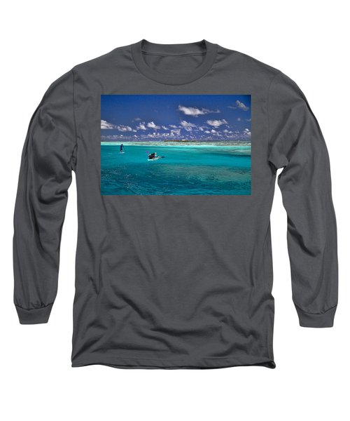 Paddling In Moorea Long Sleeve T-Shirt by David Smith