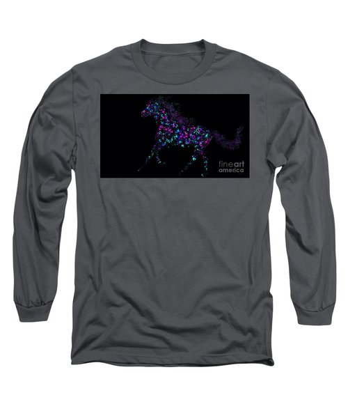 Long Sleeve T-Shirt featuring the painting Paint Splattered Pony by Nick Gustafson