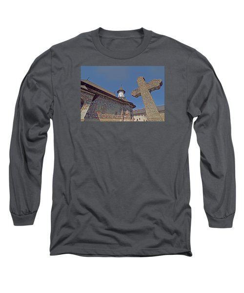 Long Sleeve T-Shirt featuring the photograph Painted Bucovina Monastery by Dennis Cox WorldViews