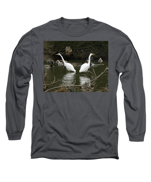 Pair Of Egrets Long Sleeve T-Shirt by George Randy Bass
