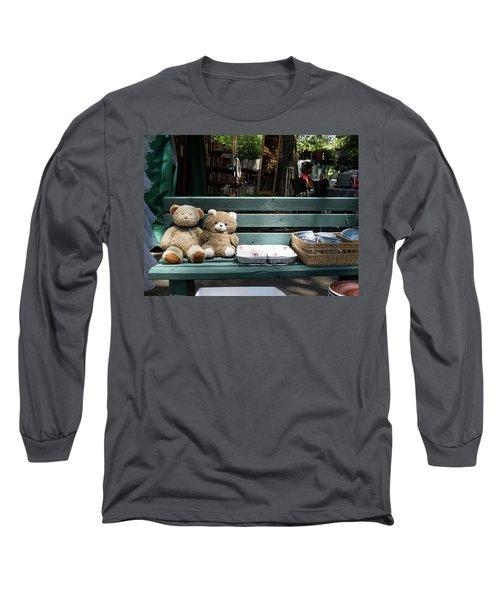 Teddy Bear Lovers On The Banch Long Sleeve T-Shirt by Yoel Koskas