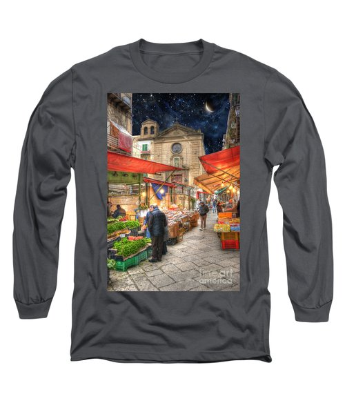 Palermo Market Place Long Sleeve T-Shirt by Juli Scalzi