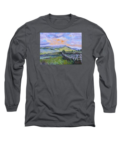 Pallet Knife Sunset Long Sleeve T-Shirt by Lisa Boyd