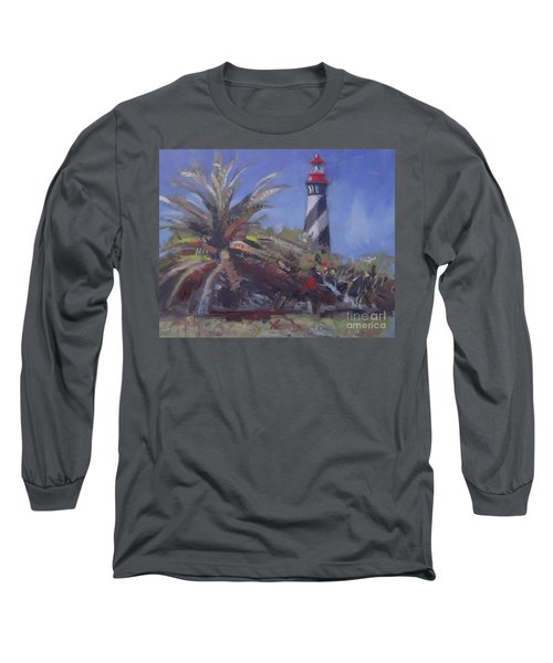 Palm By The Lighthouse Long Sleeve T-Shirt by Mary Hubley