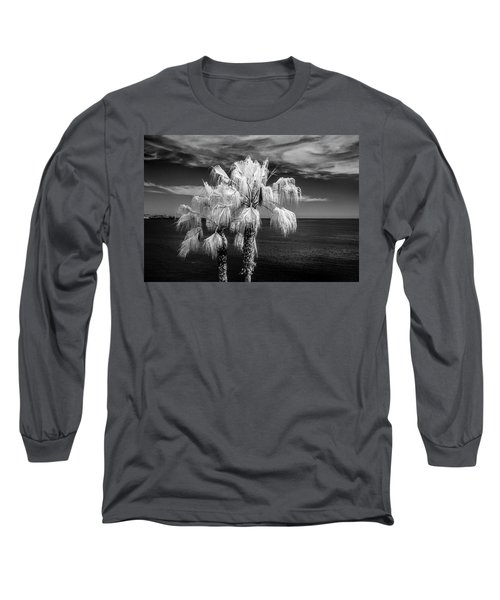Long Sleeve T-Shirt featuring the photograph Palm Trees At Laguna Beach In Infrared Black And White by Randall Nyhof