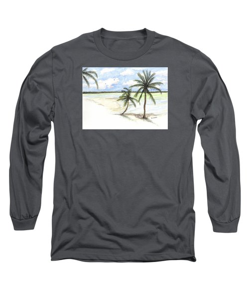 Palm Trees On The Beach Long Sleeve T-Shirt by Darren Cannell