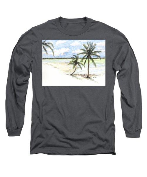 Palm Trees On The Beach Long Sleeve T-Shirt
