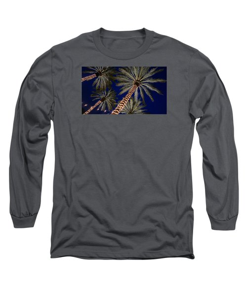 Palm Trees Wrapped In Lights Long Sleeve T-Shirt