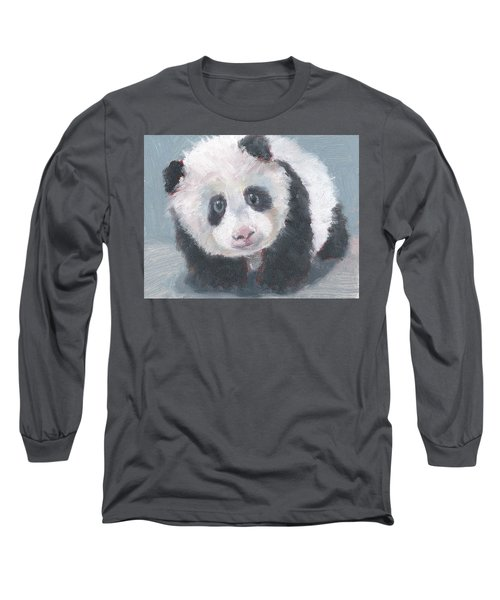 Long Sleeve T-Shirt featuring the painting Panda For Panda by Jessmyne Stephenson