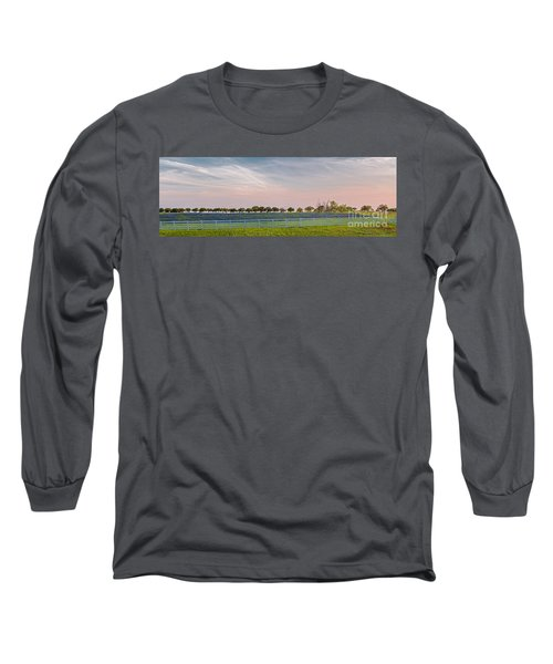 Panorama Of A Bluebonnet Field In Chappell Hill Washington County - Brenham Texas Long Sleeve T-Shirt