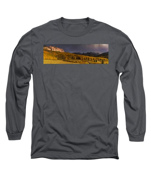 Panorama Of Owl Creek Pass From Silver Jack Reservoir Long Sleeve T-Shirt