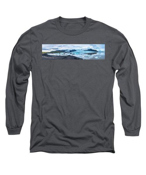 Panorama View Of Icland's Secret Lagoon Long Sleeve T-Shirt