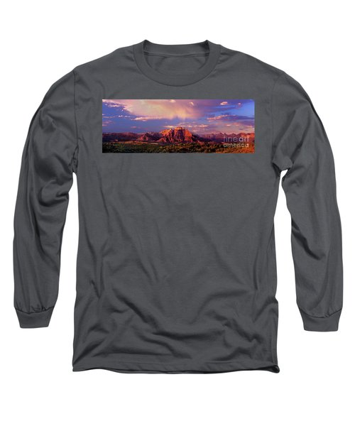 Panorama West Temple At Sunset Zion Natonal Park Long Sleeve T-Shirt