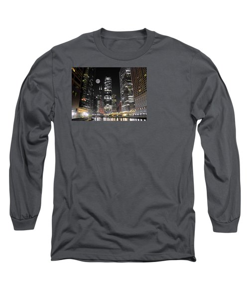 Panoramic Lakefront View In Chicago Long Sleeve T-Shirt by Frozen in Time Fine Art Photography