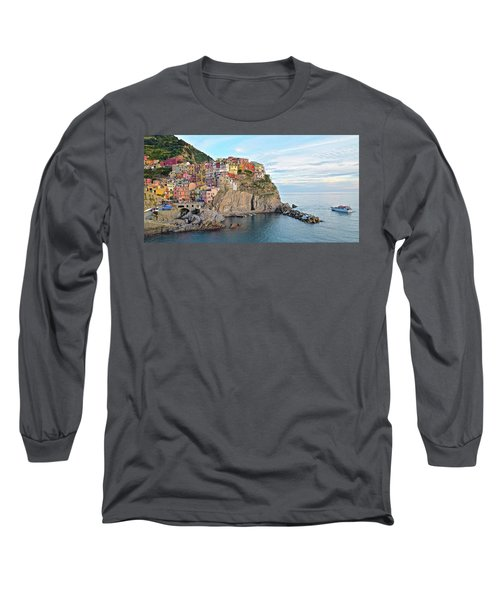 Long Sleeve T-Shirt featuring the photograph Panoramic Manarola Seascape by Frozen in Time Fine Art Photography