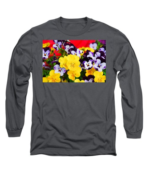 Pansies And Red Cart Long Sleeve T-Shirt